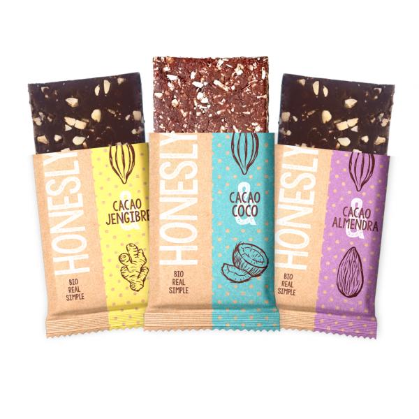 Tres tabletas de chocolate bio Honesly