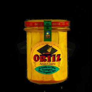 comprar Atún Claro en aceite de oliva ecológico Ortiz en un bote de cristal online supermercado ecologico barcelona frooty