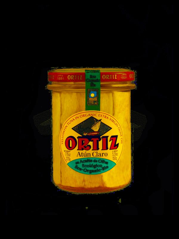 Atún Claro en aceite de oliva ecológico Ortiz en un bote de cristal