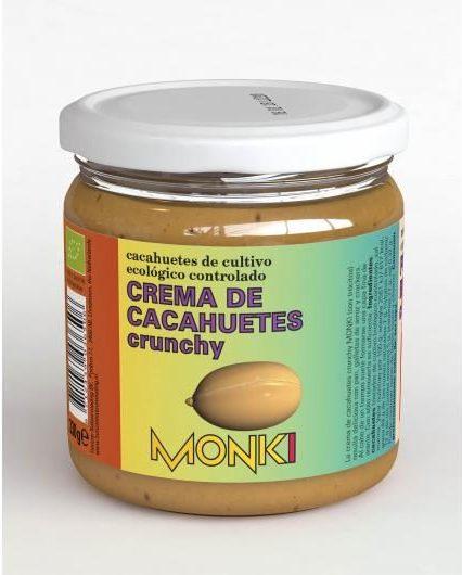 Crema de cacahuetes Crunchy de cultivo ecológico controlado Monki