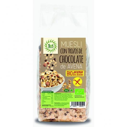 Muesli de avena y trozos de chocolate Bio y sin gluten, Sol Natural