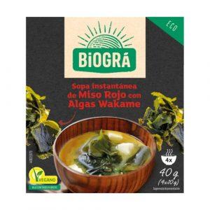 Sopa instantánea de miso rojo con algas wakame 100% ecológica de Biográ