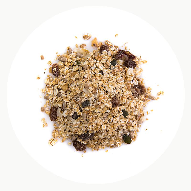 Copos de cereales ecológicos varios con muesli y pasas
