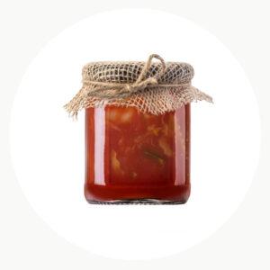 comprar Salsa de tomate ecológica en tarro envuelto con tela de saco online supermercado ecologico barcelona frooty