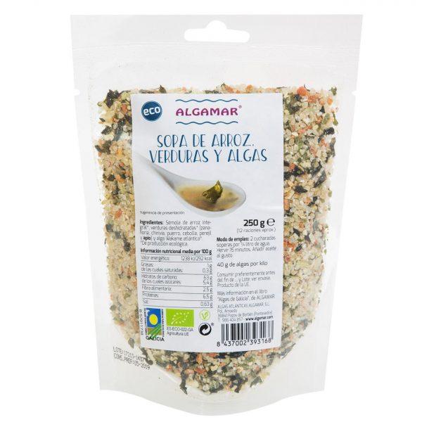 Sopa de arroz, verduras y algas Algamar 250 gr