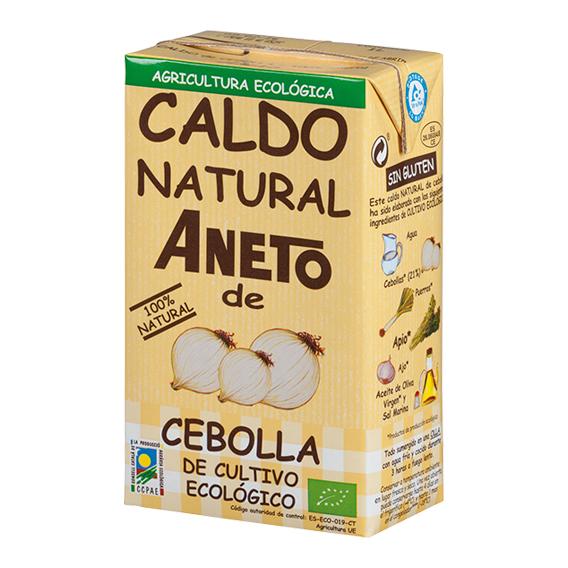 Caldo natural de cebolla procedente de cultivo ecológico de Aneto