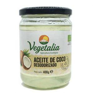 Aceite de coco desodorizado bio de Vegetalia en un bote de cristal de 400 gramos