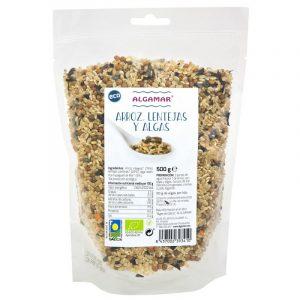 Mezcla de arroz, lentejas y algas de Algamar, 500g