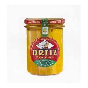 Bonito del Norte en aceite de oliva ecológico Ortiz en un bote de cristal