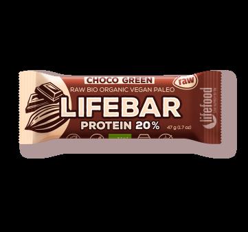 Barrita vegana choco green totalmente vegana 20% proteína Lifebar