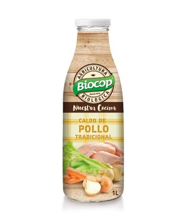 Caldo de pollo tradicional de agricultura biológica Biocop