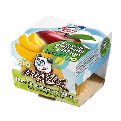 Puré de manzana y plátano bio Maxitos