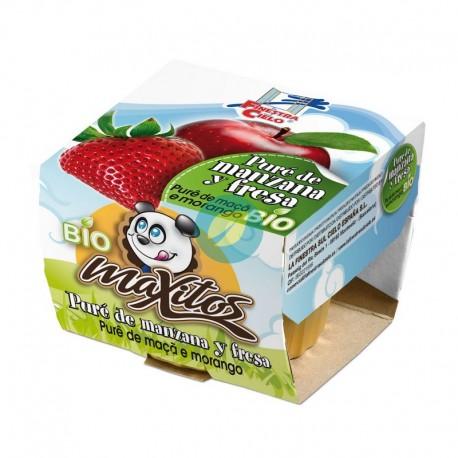 Puré de manzana y fresa bio Maxitos