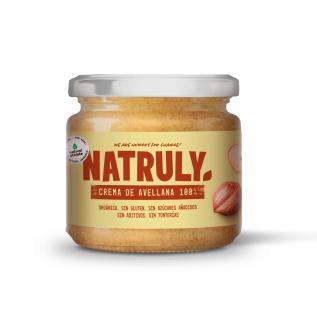 Crema de avellanas Natruly en un bote de cristal