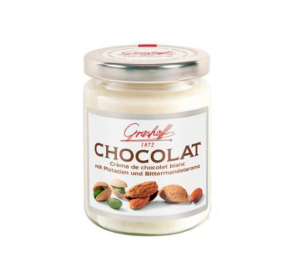 Crema Choco Blanco con Pistacho y Almendras, 235g