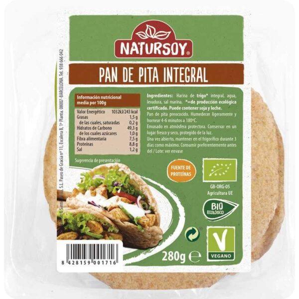comprar pan de pita integral vegano y bio Natursoy, 280 gramos online supermercado ecologico en barcelona frooty