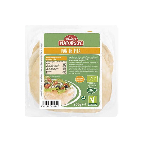comprar pan de pita vegano y bio Natursoy, 260 gramos online supermercado ecologico en barcelona frooty