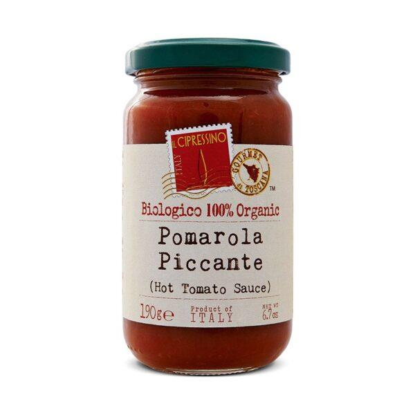 Salsa de tomate picante 100% biológico y orgánico, 190 gramos