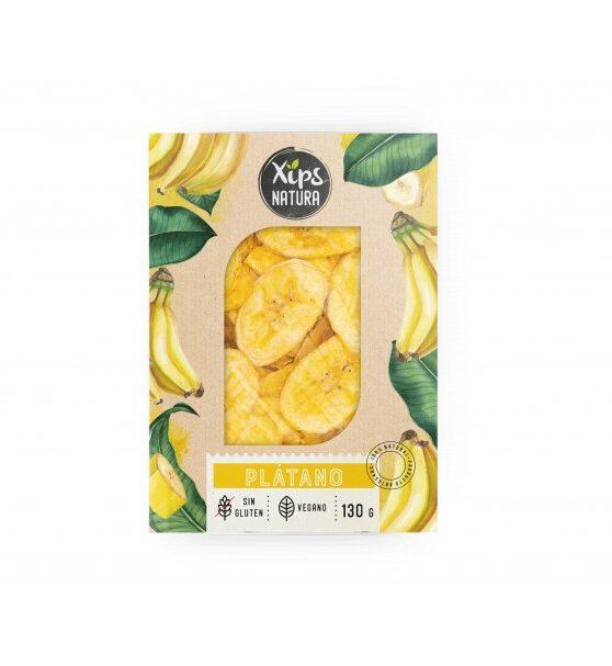 Plátano Xips Natura Sin gluten y vegano, 130 gramos